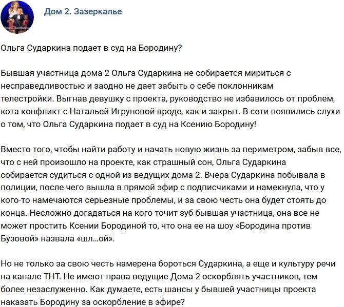 Мнение: Сударкина решила подать в суд на Бородину?
